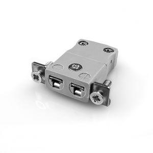 Conector de termopar de montaje en panel en miniatura con soporte de acero inoxidable JM-B-SSPF Tipo B JIS