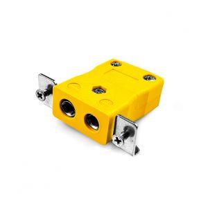Conector de termopar de montaje en panel estándar con soporte de acero inoxidable JS-J-SSPF Tipo J JIS
