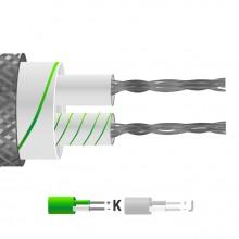 Tipo K pares planos aislados de fibra de vidrio Cable / alambre con trenzado de acero inoxidable (IEC)