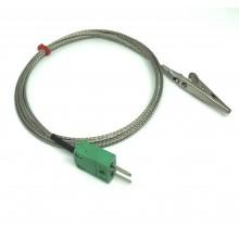 Crocodile Clip Thermocouple with Fiberglass Stainless Steel Overbraided Cable